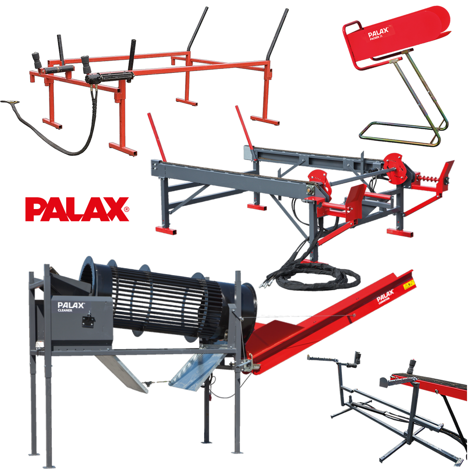 Palax Firewood Processor Accessories including log decks, firewood cleaners and firewood packing solutions